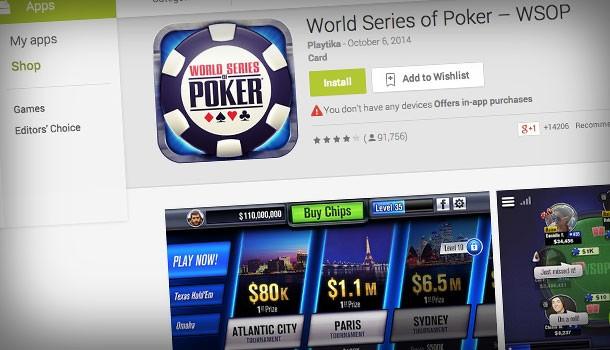 WSOP.com became the first online poker provider to enter the mobile app market.