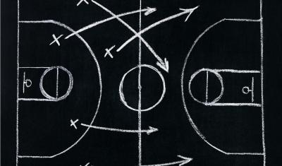 chalk drawing of basketball play